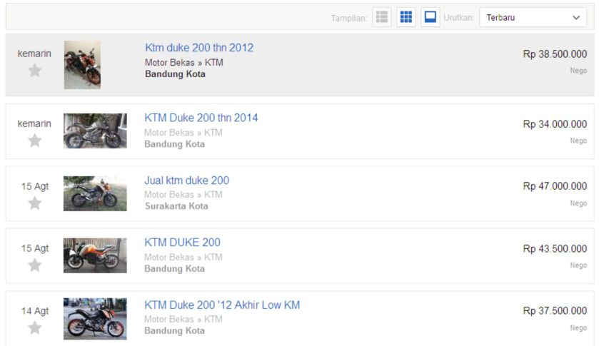KTM DUKE200 DPB